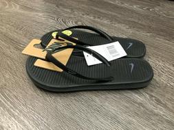 Women's Nike Solarsoft Thong 2 Flip Flops Sandals Black Grey