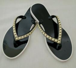 Women's Summer Bling Embellished Thong Rubber  Flip-Flops/Sa