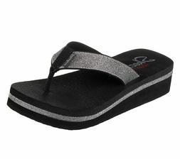 Skechers Women's Unicorn Mist Micro Glitter Flip Flops Sanda
