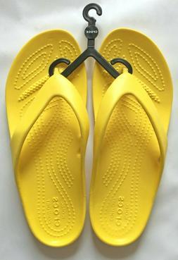 Crocs Women's W6 6 Lemon Yellow Kadee Flip Flops Sandals