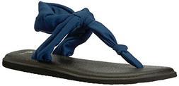 Sanuk Women's Yoga Sling Ella Flip-Flop, Navy Peony, 08 M US