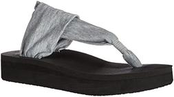 Sanuk Women's Yoga Sling Wedge Flip Flop, Heather Grey, 9 M