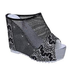 TnaIolral Women Sandals Flip Flops Hollow Wedge High Heel Sh