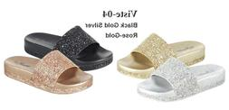 Women Sandals Sequins Sandals Bling Glitter Lightweight Slip