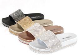 Women Sandals Sequins Sandals Glitter Rhinestone Design Slip