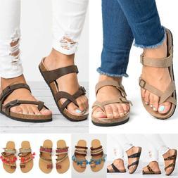 Women Slide Buckle T-Strap Cork Footbed Flatform Flip-Flops