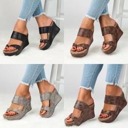 Women Summer Platform Wedge High Heel Shoes Fashion Slingbac