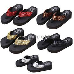 women wedge sandals sequin thong flip flops