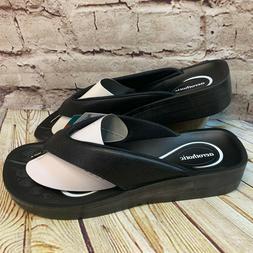 Aerothotic Womens Black Comfort Thong Flip Flops Sandals Siz