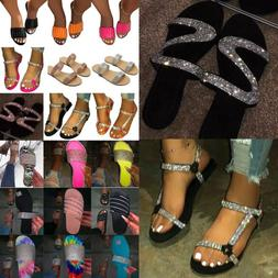 Women Rhinestone Bling Slippers Flip Flops Sandals Open Ring