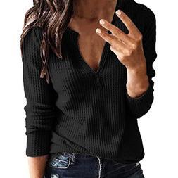 Londony ♥‿♥ Womens Blouse Long Sleeve Deep V-Neck Loos