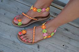 Sexy Bohemian Flat Sandals PU Leather Flat Flip Flops Toe Ri
