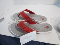 Clarks Womens Breeze Sea Flip Flops Red Comfort Summer Sanda