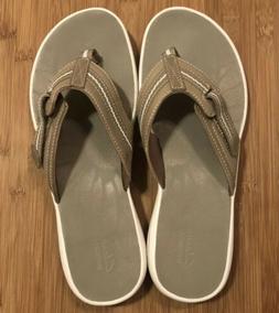 Clarks Women's Brinkley Bree Brown Thong Flip-Flops Shoes