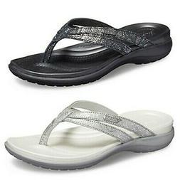 Crocs Womens Capri Strappy Flip Flops Ladies Dual Comfort Cu