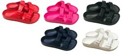 Womens Double Strap Buckle Slide Flip Flop Soft Footbed Sand
