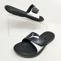Puma Womens Flip Flop Sandals Surfcat Slide Slip On Black Wh
