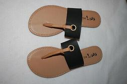 Womens Flip Flops BLACK WIDE STRAP Eyelet Accent TAN THONG S