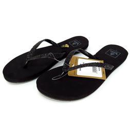 Reef Womens Flip Flops Sandals Size 6 Black Stargazer Noir B