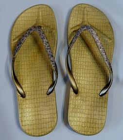 Womens Flip Flops Sun & Sky Gold Glitter Thong Sandals NWT U