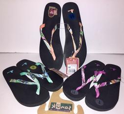 Sanuk Womens Flip Flops Yoga Joy Funk Thong Sandals Berry Pe