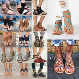 Womens Gladiator Sandals Thong Flip Flops Flats T Strap Size