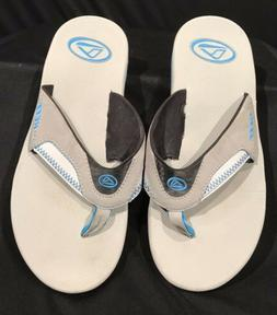 Reef Womens Gray/Cyan Flip Flops Bottle Opener Size 9