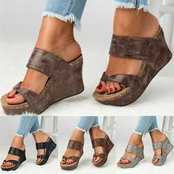 Women's Ladies Wedge High Heels Sandals Flip Flops Summer To
