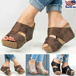 Womens Platform Wedge High Heels Sandals Ladies Summer Flip