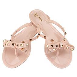 TENGYUFLY Womens Rivets Bowtie Flip Flops Jelly Thong Sandal