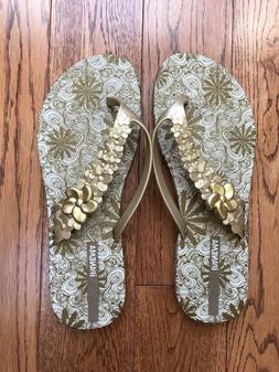 Womens Ipanema  Rubber Gold Print Flip Flops Sandals Size 8