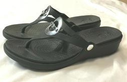 Womens CROCS SANRAH CIRCLE Black Flip Flops Size 10
