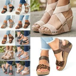 Womens Slingback Wedge Platform Heels Sandals Thong Flip Flo