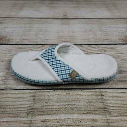 Acorn Womens Summerweight Thong Slippers White Plaid Flip Fl