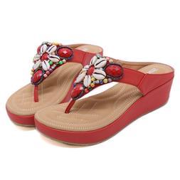 Womens Wedge Comfy Platform Thong Flip Flops Sandals Beach S