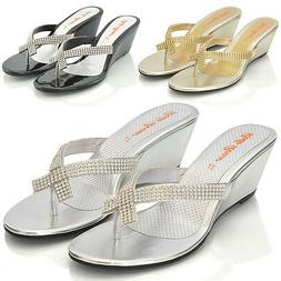 Womens Wedge Heel Flip Flops Sandals Diamante Sparkly Ladies