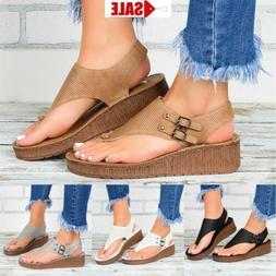 Womens Wedge Platform Thong Flip Flops Lady Summer Beach San