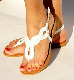 Womens Wide Braided Gladiator Flat Sandal Y-strap Thong Flip