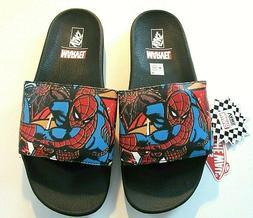 Vans x Marvel Mens Spiderman Slides Flip Flops Black Red Blu