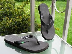 SANUK YOGA MAT Black Flip-Flops Sandals Womens size 11 NEW