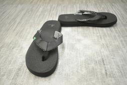 Sanuk Women's Yoga Mat Flip Flop,Ebony,5 M US