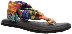 Sanuk Women's Yoga Sling 2 Prints Flip Flop, Coral/Multi Mar