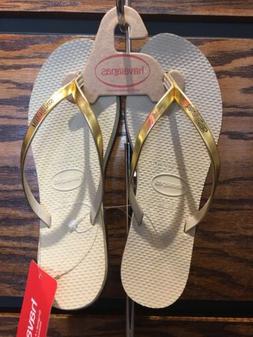 Havaianas You Metallic Flip Flops 39-40 USA 9-10w Sand Grey