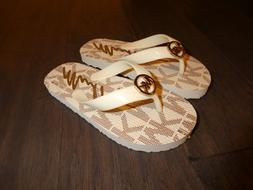 Michael Kors Youth girls Jetset flip flops sandals shoes new